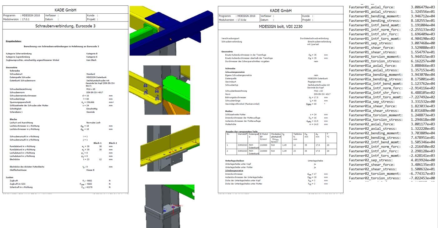 Untersuchung von Schraubenverbindungen nach EC3 / VDI 2230